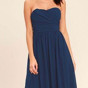 Lulu's All Afloat Navy Blue Dress